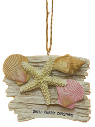 "Funny Nautical Christmas Ornament - Shell Scene ""SHELL-EBRATE CHRISTMAS"""