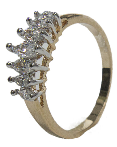 Women's 18 Kt Gold Plated Dress Ring Marquise Cut CZ 005