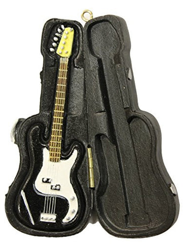 Christmas Decoration Music Lovers Black Electric Guitar in Case Ornament