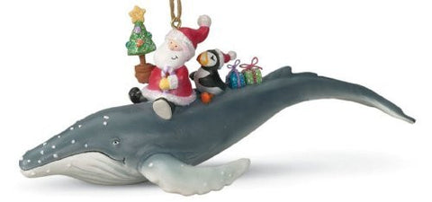 Santa Riding Humpback Whale Tropical Christmas Ornament