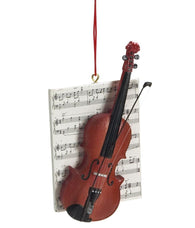 1 X Violin with Sheet Music Resin Hanging Christmas Ornament - Size 4.25 in.