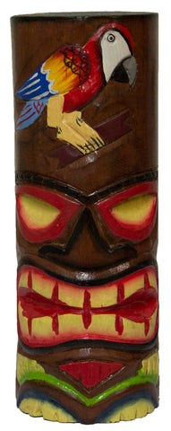 Hand Carved Hand Painted 10 Inch Large Tiki Totem Pole - Parrot