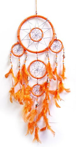 "21"" Long Feather Hanging Native American Inspired Dream-catcher (Orange)"