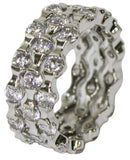 Women's Rhodium Plated Dress Ring 3 Stackable CZ Bands 045