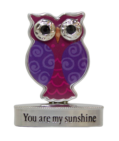 2 Inch Happy Little Owl Figurine W/ Colorful Enamel - Your Are My Sunshine