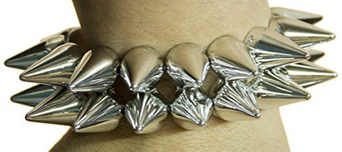 Halloween Costume Accessory - Men's Large Silver Toned Spiked Bracelet
