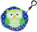Colorful Owls Soft Plush Coin Purse/ Key chain/ Backpack Clip