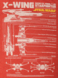 Men's Disney Star Wars Schematics X-Wing Model T-65 Starfighter T-Shirt