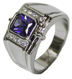Men's Rhodium Plated Dress Ring Montana Steel Emerald Cut CZ 075
