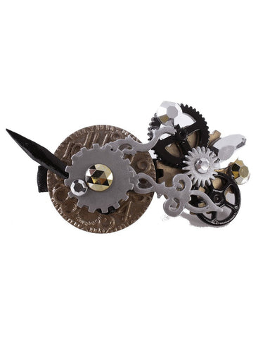 Open Clock Mechanical Gears Steampunk Hair Clip Costume Accessory