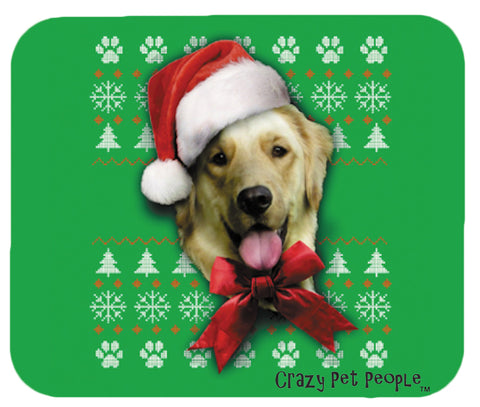 Dog Lovers Golden Retriever Ugly Sweater Christmas Design Mouse Pad