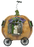 Halloween Dcor- 5 Inch Tall Light Up Skeleton In Pumpkin Carriage Figurine