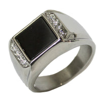 Men's Stainless Steel Dress Ring Enamel and CZ 085