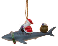 "Funny Nautical Christmas Ornament - Santa Riding Shark ""Santa Jaws"""