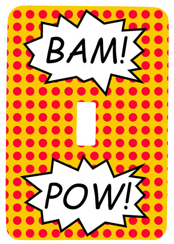 Single Toggle Metal Light Switch Cover with Pop Art Bam! Pow! Design