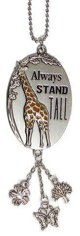 Always Stand Tall Giraffe Car Charm With Dangles