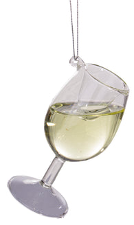 Wine Lovers Chardonnay Cheer Donnay Wine Glass Ornament w/ Faux Wine