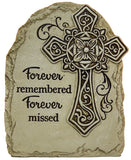 7.5 Inch Tall Memorial Cross Polystone Garden Stone