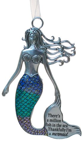 3.5 Inch Zinc Mermazing Mermaid Ornament- Million fish