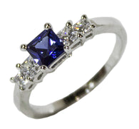 Women's Rhodium Plated Dress Ring Princess Cut Sapphire CZ 098