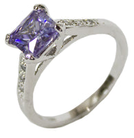 Women's Rhodium Plated Dress Ring Princess Cut Lavender CZ 116
