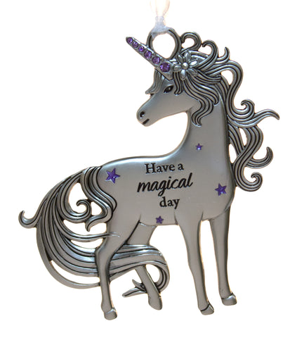 3 Inch Inspirational Zinc Unicorn Ornament - Have a magical day