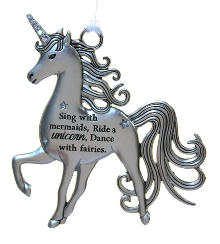 3 Inch Inspirational Zinc Unicorn Ornament - Sing with Mermaids