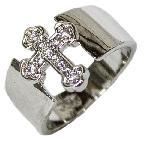 Women's Rhodium Plated Dress Ring CZ Encrusted Cross 105