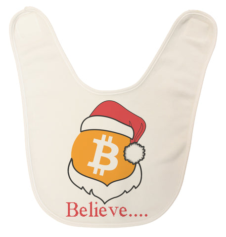 "Bitcoin Logo W/ Santa Hat ""Believe"" USA Made Ultra Soft Baby Bib"