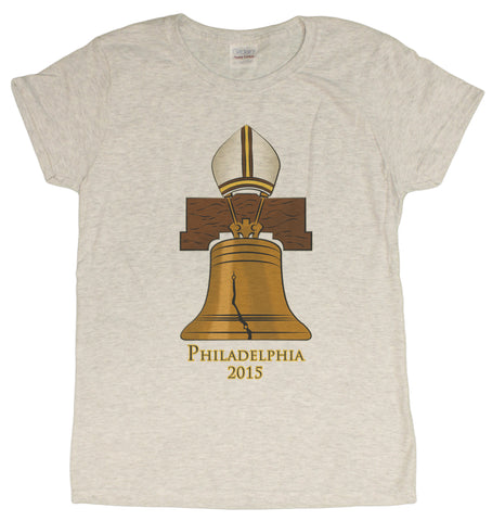 Ladies Philadelphia 2015 Pope Liberty Bell Commemorative T-Shirt
