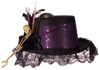 Costume Accessory - Felt Top Hat with Lace, Feathers and Skeleton