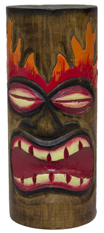 8 Inch Tall Hand Carved Tiki Wood Totem Pole (Fire Eyes)
