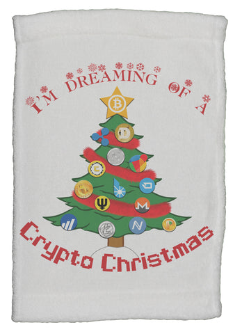 Bitcoin I'm Dreaming Of A Crypto Christmas Super Soft 8 x 12 Inch Hand Towel