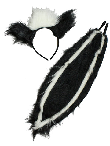 Forum Novelties Women's Skunk Ears and Tail Set, Black/White, One Size