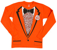 Men's Retro Prom Style Orange Tuxedo Costume Long Sleeve Shirt