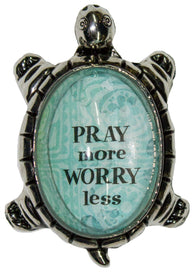 1.5 Inch Lucky Turtle Figurine - Pray More Worry Less - By Ganz