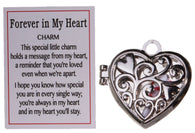 Adorable Forever In My Heart Zinc Charm w/ Stiny Scroll & Story Card