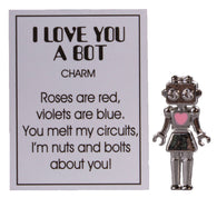 Adorable I Love You A Bot Robot Love Zinc Pocket Charm w/ Story Card