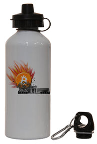 Bitcoin Smashes Federal Reserve White Aluminum 14oz Water Bottle