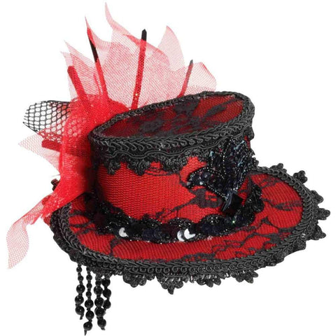 Forum Novelties Women's Costume Red and Black Lace Mini Hat