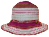 Child Size Sewn Ribbon Bucket Sun Hat W/Bead on Band