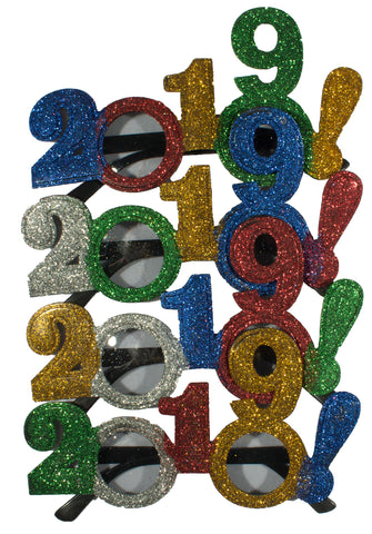 4 Pack Of 2019 New Years Eve Party Glasses (Multi Glitter!)