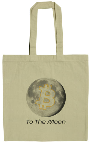 Bitcoin To the Moon 15 Inch Canvas Tote Bag
