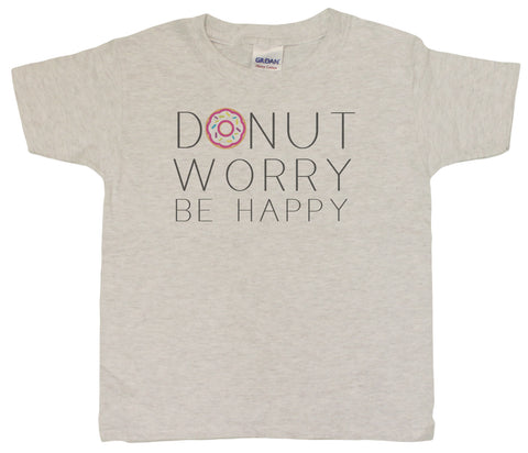"Unisex Kids 4-20 ""Donut Worry Be Happy"" Funny T-Shirt"