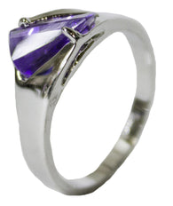 Women's Rhodium Plated Dress Ring Tanzanite CZ 057