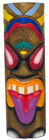 Hand Carved Hand Painted 10 Inch Large Tiki Totem Pole - Purple Tongue