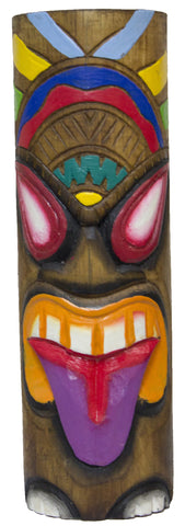 Hand Carved And Painted 12 Inch Wood Totem Pole (PurpleTongue)