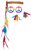 3 Piece Rainbow Hippie Costume Kit w/ Headband, Earrings & Glasses!