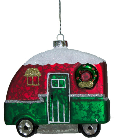 Christmas Camper Blown Glass Ornament With Glitter (Green)