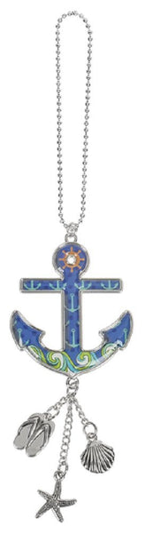 Anchor Ganz Car Charm with Dangle Charms and Ball Chain for Rearview Mirror